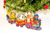 Clay Train Below The Christmas Tree — Stock Photo
