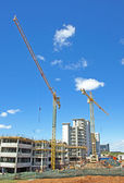 Tower Cranes Operating On Construction Site In Umhlanga Durban S — Stock Photo