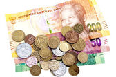 Scattered Coins on Three South African Bank Notes — Stock Photo
