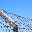 Coiled Razor Wire Fence Against Blue Skyline — Stock Photo