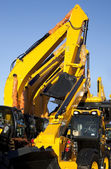 Earth Moving Equipment In A Row — Stockfoto