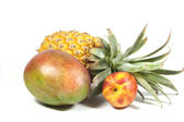 Pineapple Nectarine And Ripe Tropical Mango On White — Stock Photo