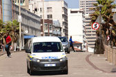 Police Vehicle Patrolling Street in Durban South Africa — Stock Photo