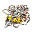 Stock Photo: Isolated Hand Made Bead Necklaces Bracelet and Wire Cross