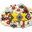 Stock Photo: Isolated Colorful Beaded Bracelet and Necklace on White