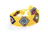 Colorful Woven Beaded Zulu Wrist Band Bracelet on White — Stock Photo