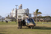 Helicopter and Military Prsonel on Beach Front In Durban — Stock Photo