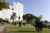 Hotel Overlooking Trees and Lawn on Durban Beachfront — Stock Photo