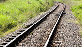 Shiny Curved Railway Track Running Through Countryside — Stok fotoğraf
