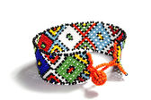 Isolated Single Traditional Bright Beadwork Zulu Bracelet — Stock Photo