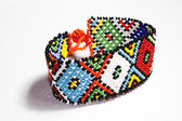 Isolated Traditional Bright Beaded Zulu Bracelet  — Stock Photo