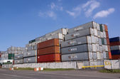 Colorful Containers Stacked and Stored Near Harbor — Stock Photo