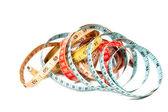 Medidas de la cinta tres modistas azules rojos y amarillos — Foto de Stock