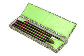 Five Chinese Calligraphy Brushes in Ornamental Box — Stock Photo