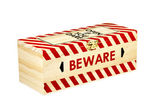 Wooden Box with Wording Open if you Dare and Beware — Stock Photo