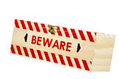 Wooden Box with Brass Clasp and Word Beware — Stock Photo