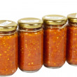Four Bottles of Preserved Mazavaroo Made from Ground Chillies — Stock Photo #48708889