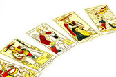 Five Tarot Cards Used for Fortune Telling — Stock Photo