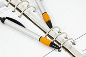 Closeup of Open Diary with Two Ballpoint Pens — Foto de Stock