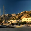 Bay Mediterranean Sea. Small village with port for private yachts. — Stock Photo #28905295