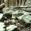 Stream in deep freeze. Long exposure in night. — Stock Photo