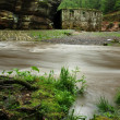 View over dark mountain river with high water level after heavy rains to ruin of stony water mill. — Stockfoto