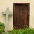 Old side door into church from sixteenth century. Renewal wall with new paint. — Stock Photo