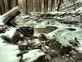 Stream in deep freeze. Long exposure in night. — Stock Photo