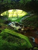 Bellow old stony bridge over rapid stream, big boulders and fresh green fern. — Stock Photo