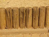 Broken fence, old wooden stockade, palisade. — Stock Photo