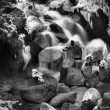 Night winter view to frozen cascade of waterfall, icy twigs and icy boulders in frozen foam of rapid stream. Reflections of light in icicles. Black and white photo. Extreme freeze.  — Stock Photo