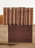 Stock of new wooden euro pallets at transportation company. — Stock Photo