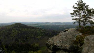 Spring misty evening in atractive nature rock empire park Saxony Switzerland. — Stock Video