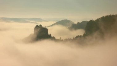 Magnificent misty sunrise in a beautiful mountain of sandstone rocky peaks. Sharp rocks increased from foggy background, the fog is shaking in valley — Stock Video