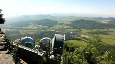 View from tower of meteorological observatory with many parabolic satellites to morning countryside. Spring morning on the peak of hill. — Wideo stockowe