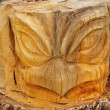 Detail of wooden sculpture eagel head in children playground, woodcarving public art. — Stock Photo #48893471