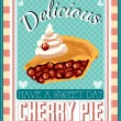 Vintage cherry pie commercial background — Stockvectorbeeld