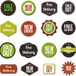 Free delivery, new offer, special offer and sold out vector labels — Stock Vector #29226657