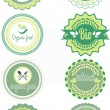 Set of vector organic labels and elements — Stockvectorbeeld