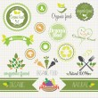 Set of vector organic food stickers, labels and elements — Stock Vector
