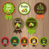 Set of vector fruit labels, badges and elements — Stock Vector