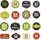 Free delivery, new offer, special offer and sold out vector labels — Stock Vector