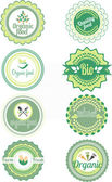 Set of vector organic labels and elements — Stock Vector