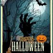 Halloween party vintage vector card poster — Stock Vector