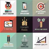 Set of quality education flat icons — Vetor de Stock