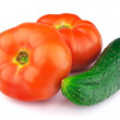 Red ripe tomatoes, cucumber, isolated on white background  — Stock Photo