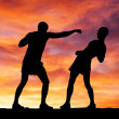 Silhouettes of two fighters on sunset background — Stockfoto #29667845