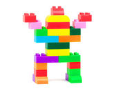 Toy robot made from toy plastic colorful blocks — Foto Stock