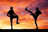 Silhouettes de deux combattants sur fond de feu du coucher du soleil — Photo