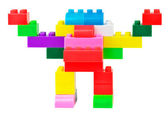 Toy robot made from toy plastic colorful blocks — Stock Photo